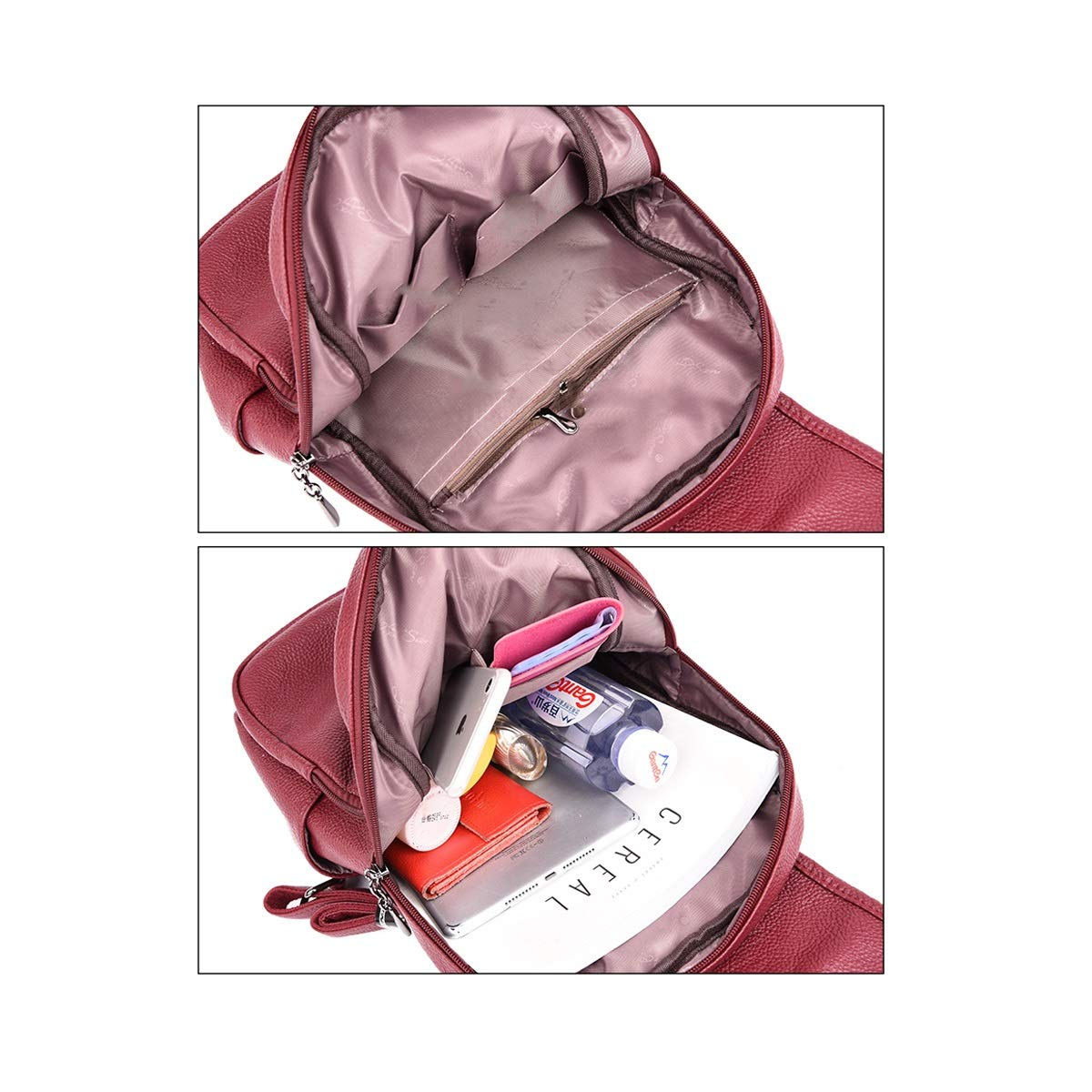 ZHICHUANG Girls Multipurpose Backpack for Everyday Travel//Outdoor//Travel//School//Work//Fashion//Leisure Practical and Simple PU Leather for Women /& Men Black//Blue//Gray//Red