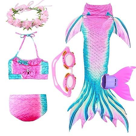 YeeZcc 6 Pcs Muchachas Cola De Sirena para Nadar Bikini Set ...