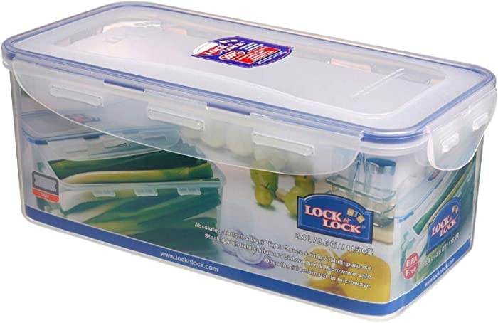 LOCK & LOCK Airtight Rectangular Food Storage Container with Drain tray 14-Cup, 115-Fluid Ounces