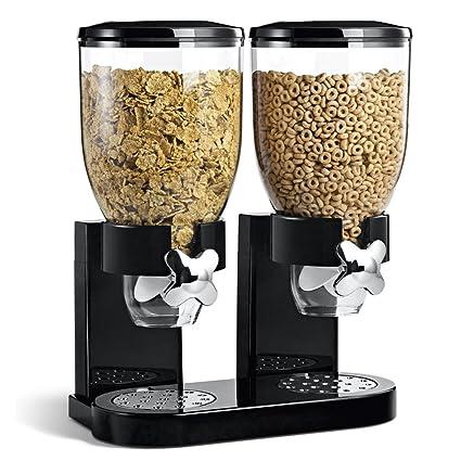 BAKAJI dispensador Storage dosificador dispensador dispensador cereales Pasta caramelos pasteles Frutas Secas con rueda doble recipiente