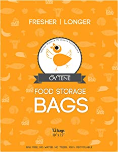 "OVTENE Food Storage Bags for Cheese, Meat, and Produce - Keeps Food Fresher Longer (12 Large Bags 10""x15"")"