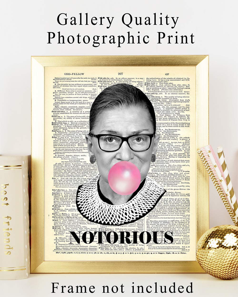 Notorious-RGB-Wall-Art-Print-on-Dictionary-Photo-Ready-to-Frame-8X10-Vintage-Photo-Great-Home-Decor-or-Gift-For-Lawyers-or-Attorneys-Ruth-Bader-Ginsburg