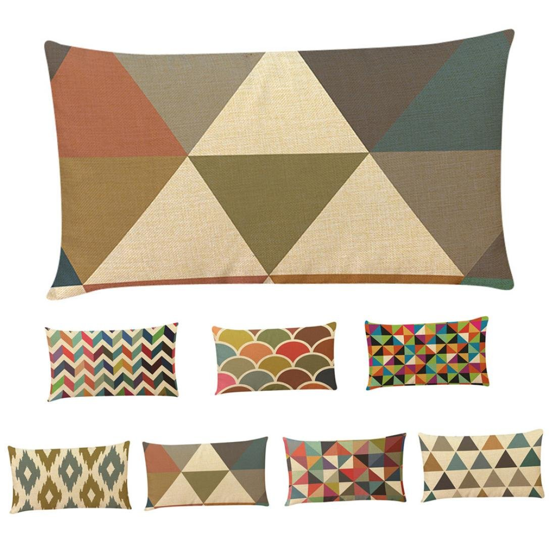 "Ikevan Retro Geometric Pattern Multicolor Rectangle Pillowcases Throw Pillow Cushion Cover Sofa Home Decorative,Linen Blend,12""x20"""
