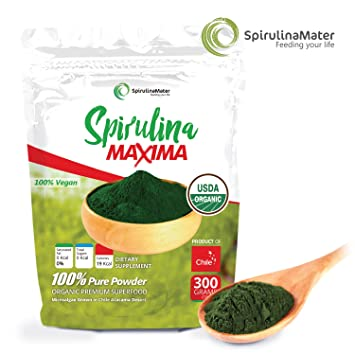Spirulina Protein Powder 10.5 Oz (300 Grams, 0.66 Lbs) by SPIRULINA MATER -