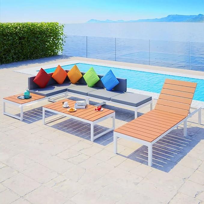 UnfadeMemory Juego de Sofás de Jardín Exterior,Muebles de Jardín Terraza Balcón o Patio,Aluminio y WPC (Tipo1,5 Piezas): Amazon.es: Hogar