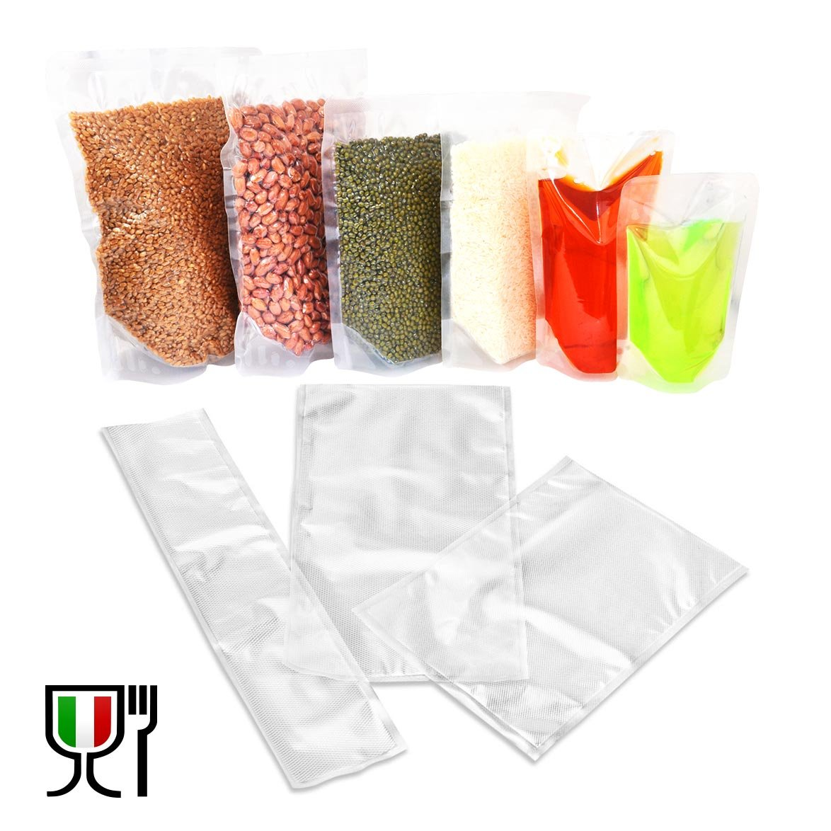 Plastar Pak 100 Buste 25x35 per Sottovuoto Goffrate 105 Micron Sacchetti per alimenti