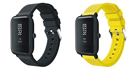 XingWangFa for Xiaomi Amazfit Straps Correas 20mm [2 Pack][Chuanzi Pattern] Soft Silicone Sport Correa Replacement Strap For Xiaomi Huami Amazfit Bip ...