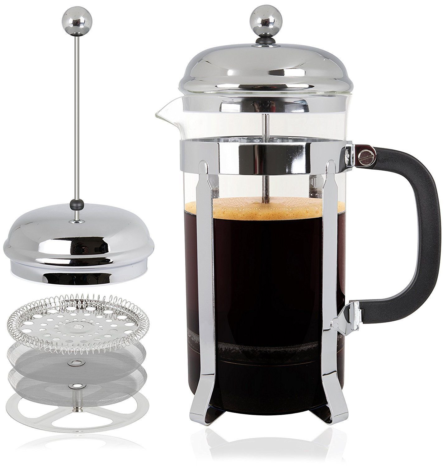 Mr Kitchen All-in-1 French Press Coffee Maker, Coffee Press Tea Maker w 32 Oz 4 Cup Carafe-Perfect Cup of Coffee Every Time-QUALITY Stainless Steel Coffee Maker Structure