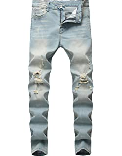 a07d0491a89 FREDD MARSHALL Boy s Light Blue Skinny Fit Ripped Destroyed Distressed Stretch  Slim Jeans Pants