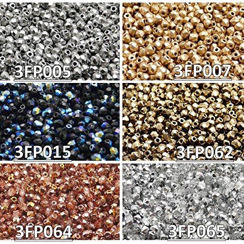 zech Fire-Polished Glass Beads Round 3 mm, Set 332 (3FP005 3FP007 3FP015 3FP062 3FP064 3FP065) ()