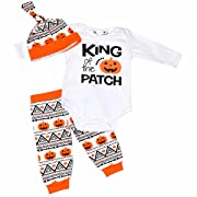 Unique Baby Boys King of The Patch  3 Piece Halloween Layette Set (Newborn)