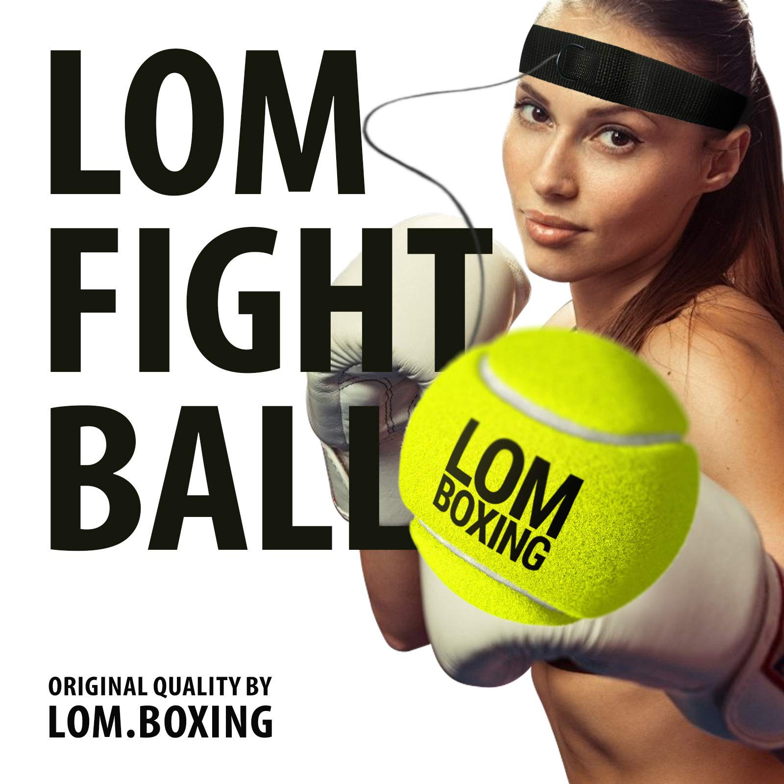 LOM Fight Ball Reflex, Boxing Ball, Red Blue Design, Boxing Equipment, Trainer for Workout and Fitness, Boxing Headband with String and Boxing Tennis Ball for speed punch, Punching Ball for All Ages