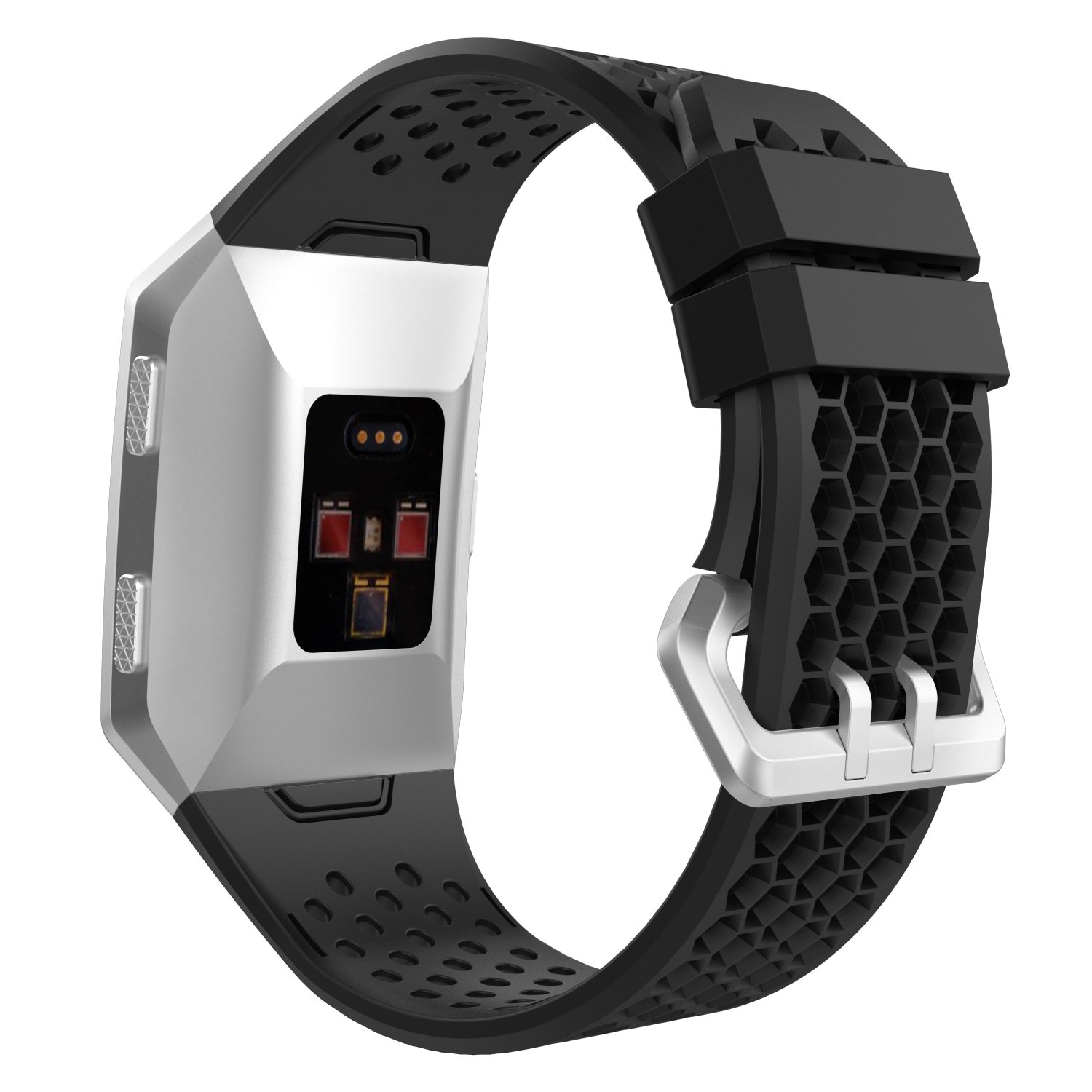 MoKo Fitbit Ionic Watch Band, Soft Silicone Perforated Adjustable Replacement Sport Strap for Fitbit Ionic Smart Watch, Large Size 5.12