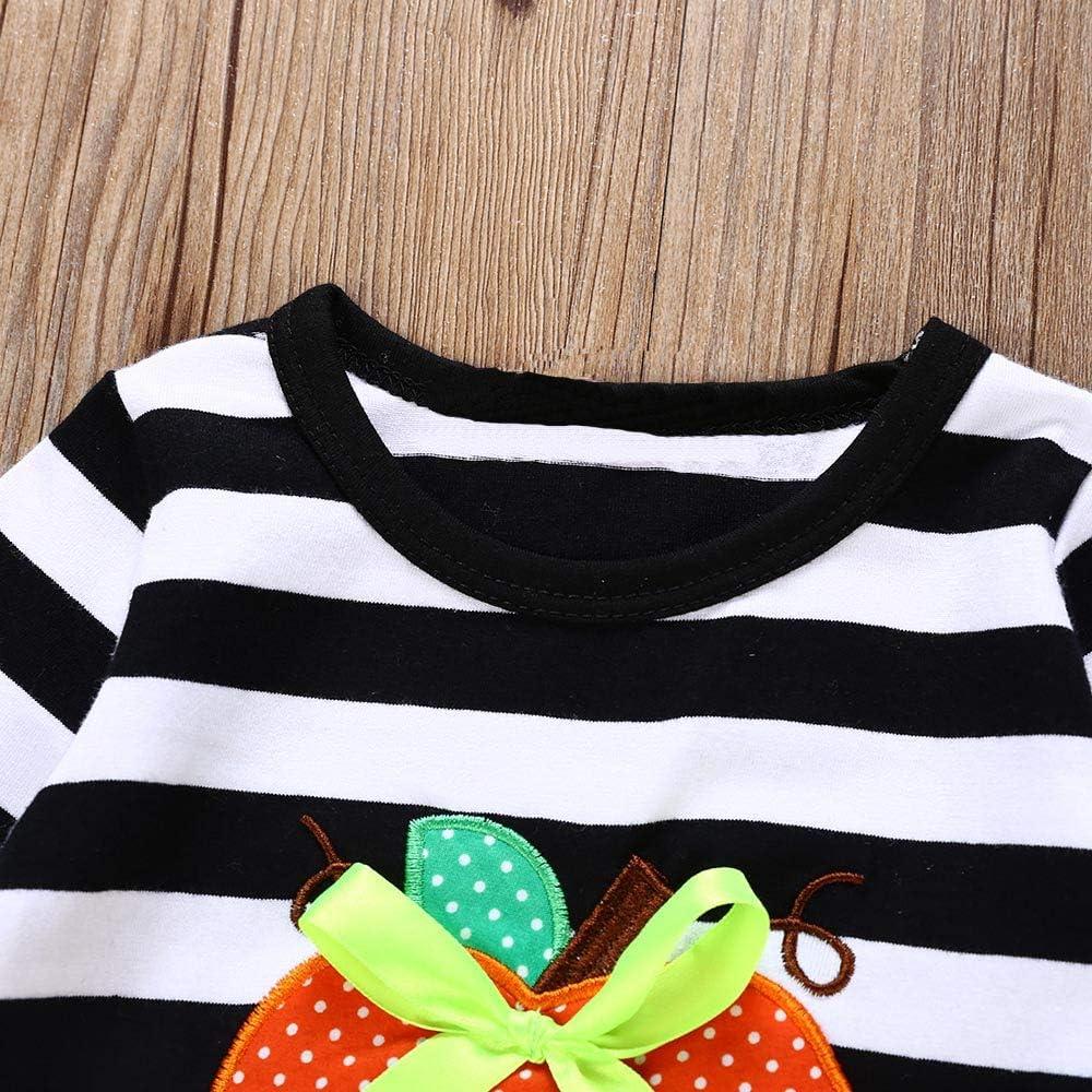 Weiyun Toddler Baby Girls Dress Pumpkin Cartoon Print Stripe Dresses Halloween Outfits