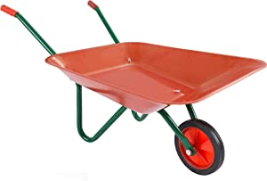 Hey! Play! Kids Wheelbarrow Garden Tool-Mini Toy Wheelbarrow for Boys and Girls- for Pretend Play Yardwork, Hauling Sand, Water, Sticks and More, Red (80-PP-WB)