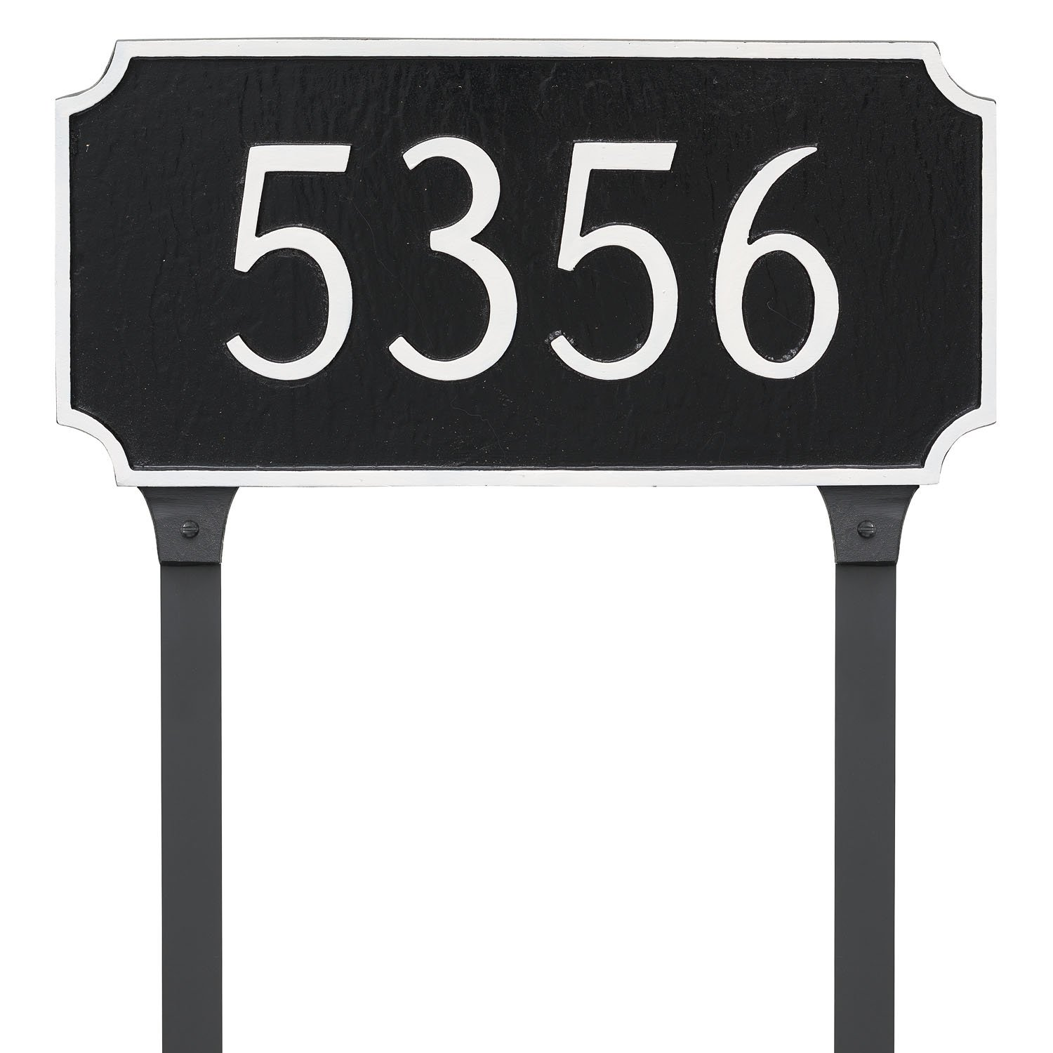 Montague Metal Princeton Estate One Line Address Sign Plaque with Lawn Stakes, 14'' x 27'', Black/White