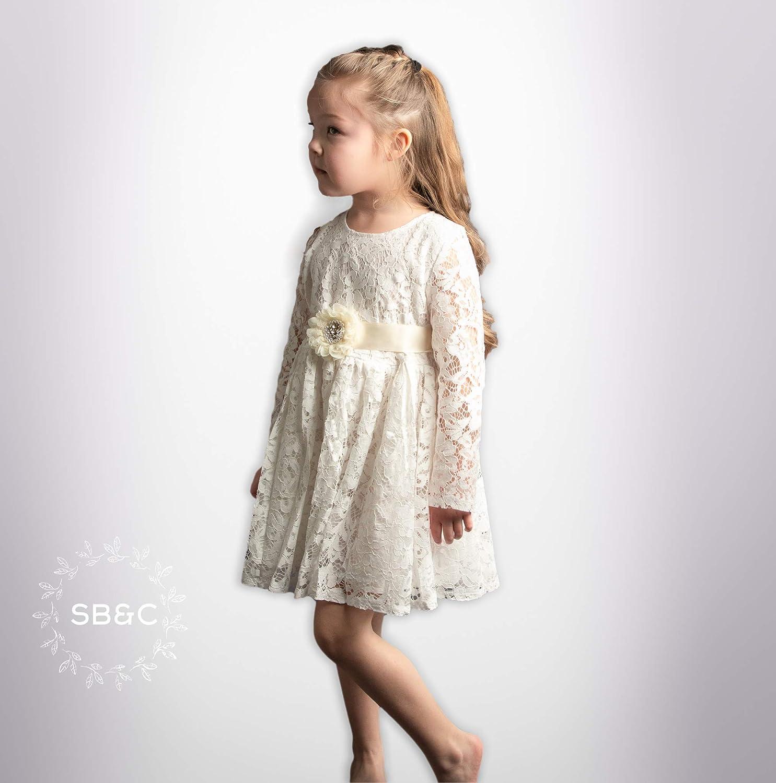 0ee10b24a6849 Amazon.com: Flower Girl Dresses-Rustic Flower Girl Dress-Vintage girl dress-Country  girl Dress-White Flower girl dress- Communion Dress-Lace girl dress: ...