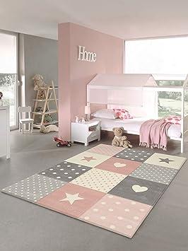 Tapis chambre enfant Etoiles (rose, 160 x 230 cm)