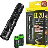 Nitecore EC20 960 Lumen CREE XM-L2 T6 LED Flashlight with Two EdisonBright CR123A Lithium Batteries