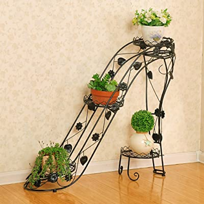 LRW Iron Art Flower Rack Multi-Layer Flower Pot Rack Indoor and Outdoor Living Room Balcony High Heel Creative Flower Stand: Garden & Outdoor