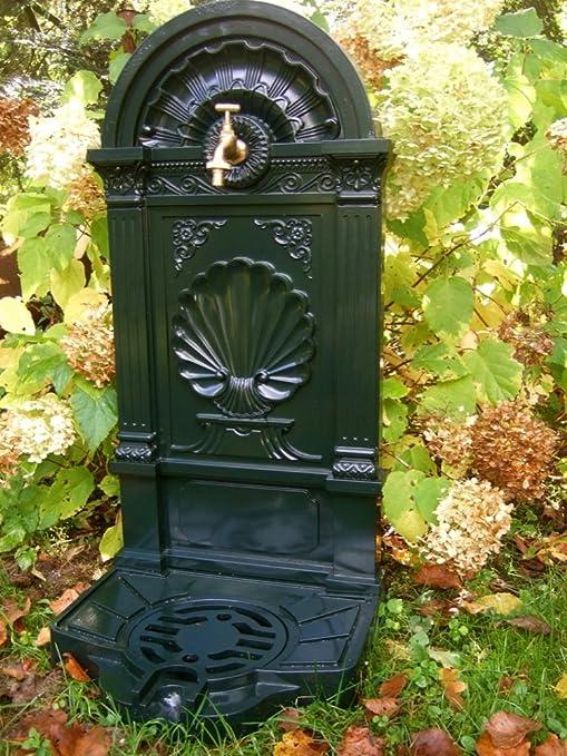 Antikas - fuentes de jardín con un grifo de latón - fuentes estilo antiguo - fuente decorativa de aluminio fundido: Amazon.es: Jardín