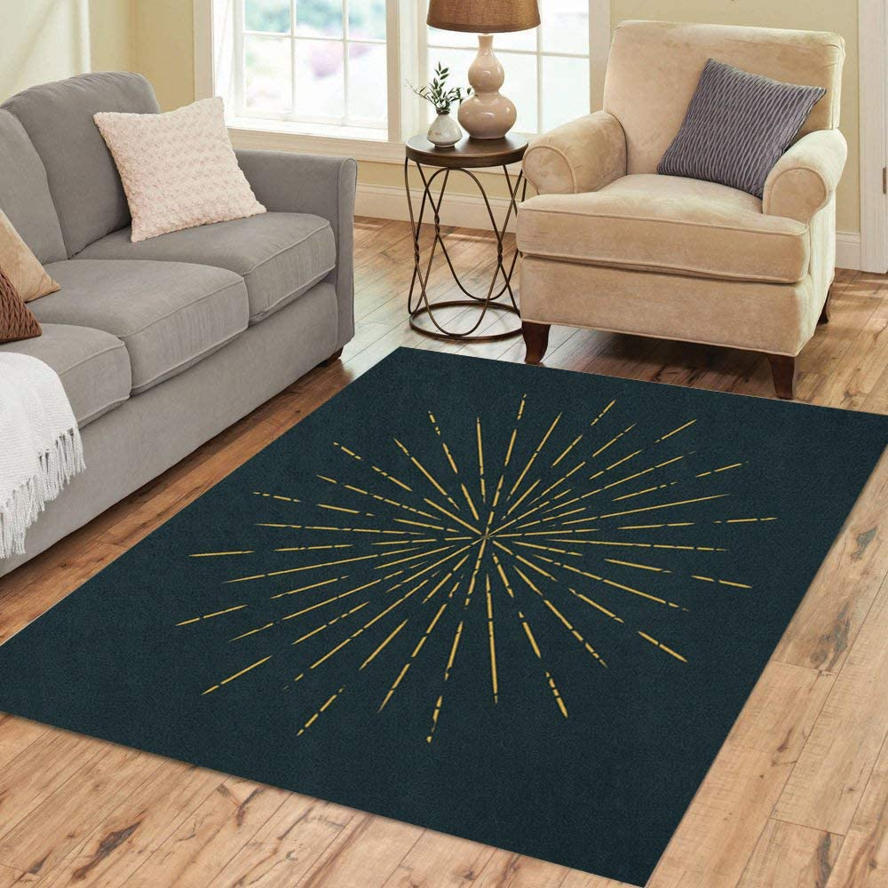 Pinbeam Area Rug Abstract Gold Starburst on for Retro Vintage Sun Home Decor Floor Rug 2' x 3' Carpet