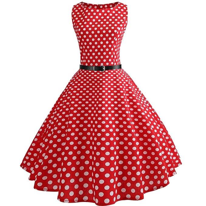 Vestidos Lunares Rojo Mujer LHWY, Vestidos Vintage De Fiesta AñOs 50 Color SóLido Vestidos De
