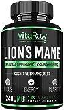 Organic Lions Mane Mushroom Capsules (2400mg   Powerful Nootropic) Brain Mushroom Supplement for Focus & Immune Support…