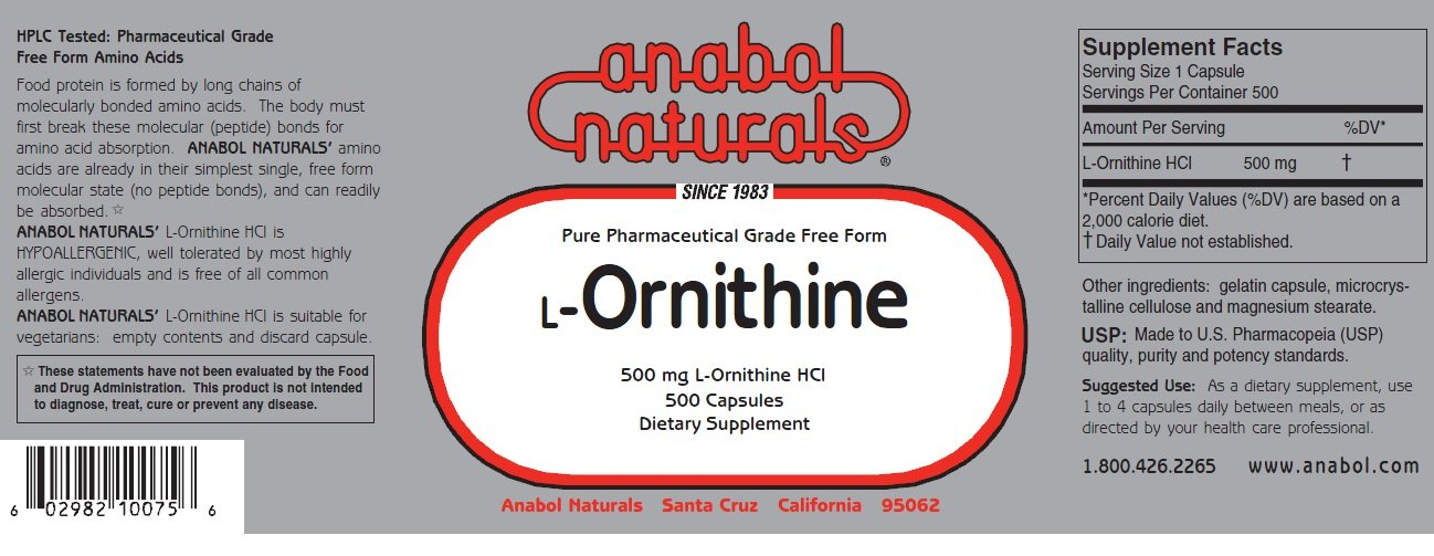 Anabol Naturals L-Ornithine 2000 Capsules 500 mg Free Form