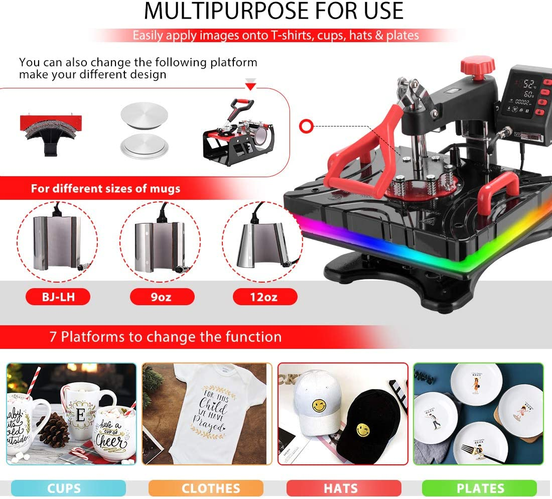 VIVOHOME Upgraded 11 in 1 Combo Multifunctional Swing Away Clamshell Printing Sublimation Heat Press Transfer Machine for T-Shirt Hat Cap Mug Plate Pen 15 x 12 Inch ETL Listed