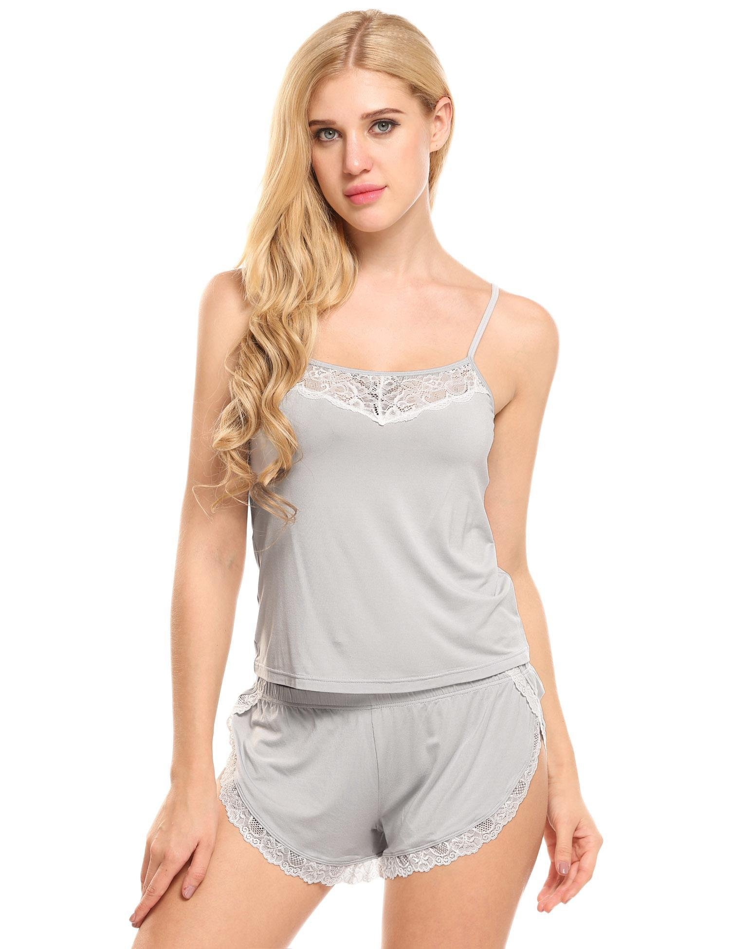 Ekouaer Women Pajamas Sexy Short Sets Lace Camisole Lingerie Sleepwear (Grey, L)