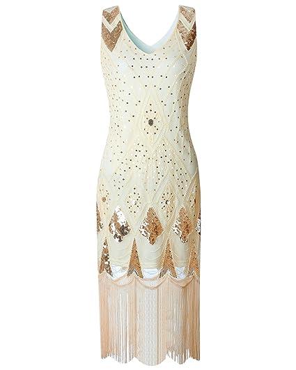 fab766ee2205 JaosWish 1920s Flapper Dress Art Deco Women Great Gatsby V Neck Beaded  Vintage Inspired Midi Dress