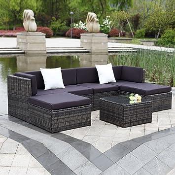 IKAYAA Outdoor Patio Garden Furniture Sofa Set PCS Cushioned