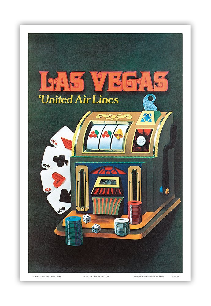 Vintage Airline Travel Poster c.1972 Master Art Print United Air Lines Pacifica Island Art Las Vegas Nevada Slot Machine 12in x 18in