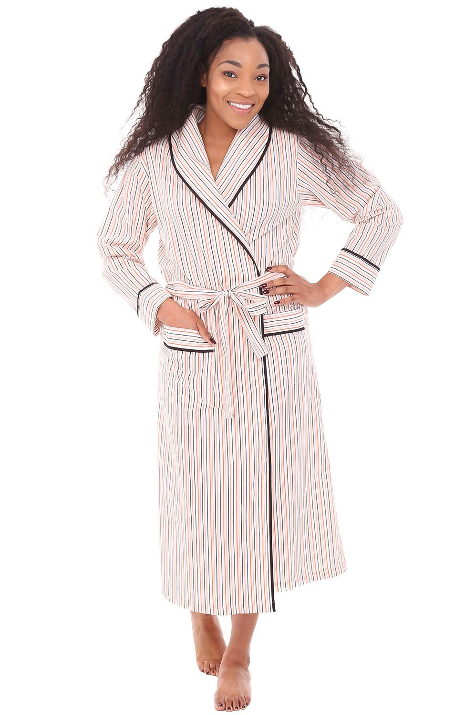 Alexander Del Rossa Womens Cotton Robe, Lightweight Woven Bathrobe, Large Orange and Gray Striped (A0515V67LG)