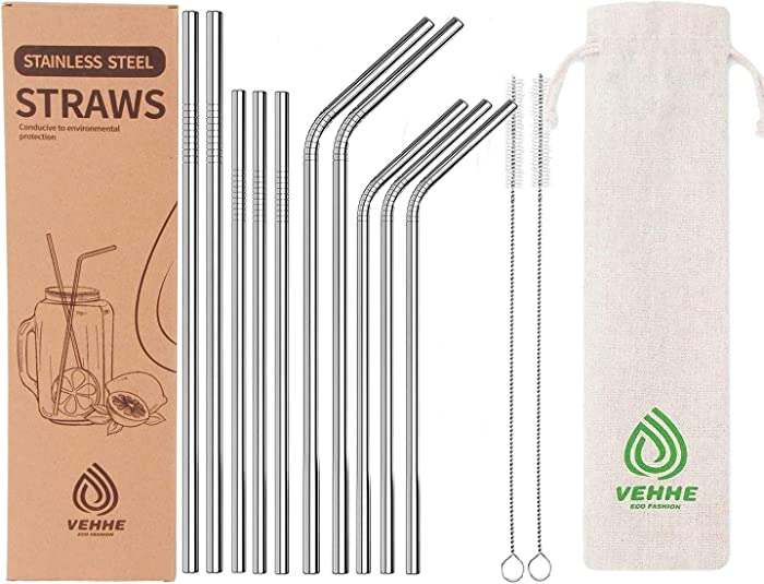 VEHHE Reusable Metal Stainless Steel Straws with Case BPA Free 10 Set (10.5in +8.5in)