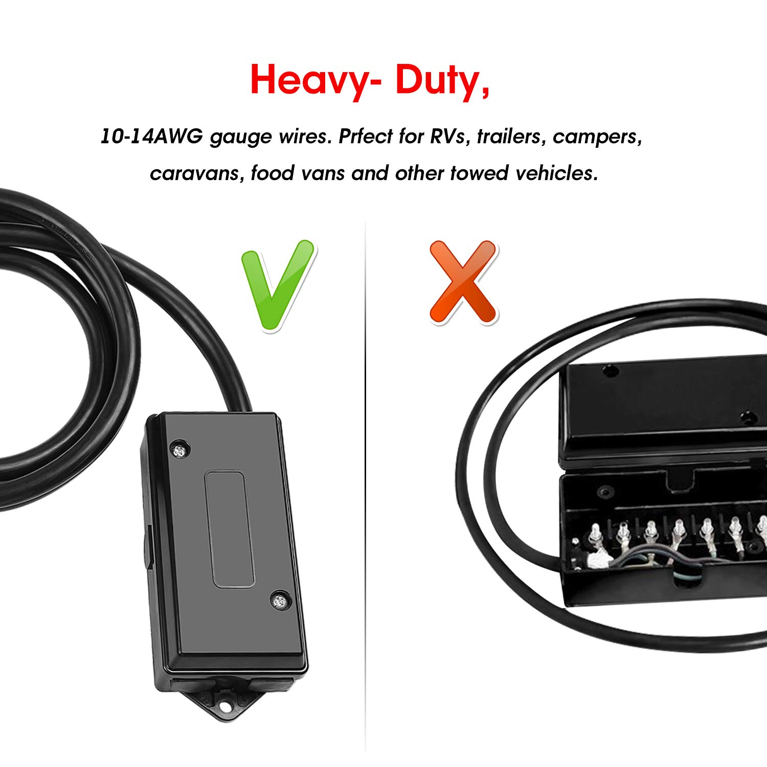 Winunite 7 Way Trailer Plug Cord With Junction Box 8 Wiring Block Feet Heavy Duty Pin Harness Connector Automotive