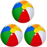 4E's Novelty Beach Balls for Kids [3 Pack] Large 20 inch Inflatable Beach Ball, Rainbow Color - Pool Toys for Kids, Beach Toy