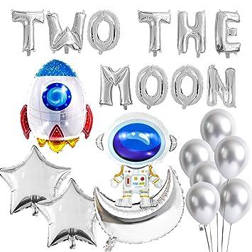Kreatwow Dos Decoraciones de cumpleaños de la Luna Espacio ...