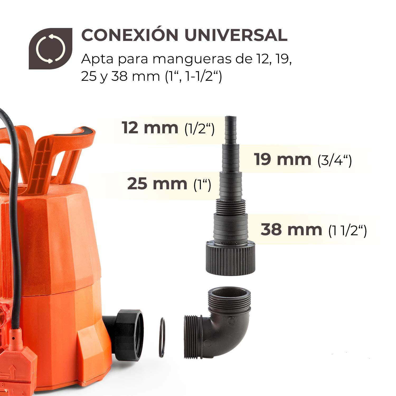 Waldbeck Nemesis T400S Bomba • Bomba Sumergible • Bomba para el jardín • 400 W • 7000 litros/h • Potente • Altura de extracción de 7 m • Incluye Adaptador ...