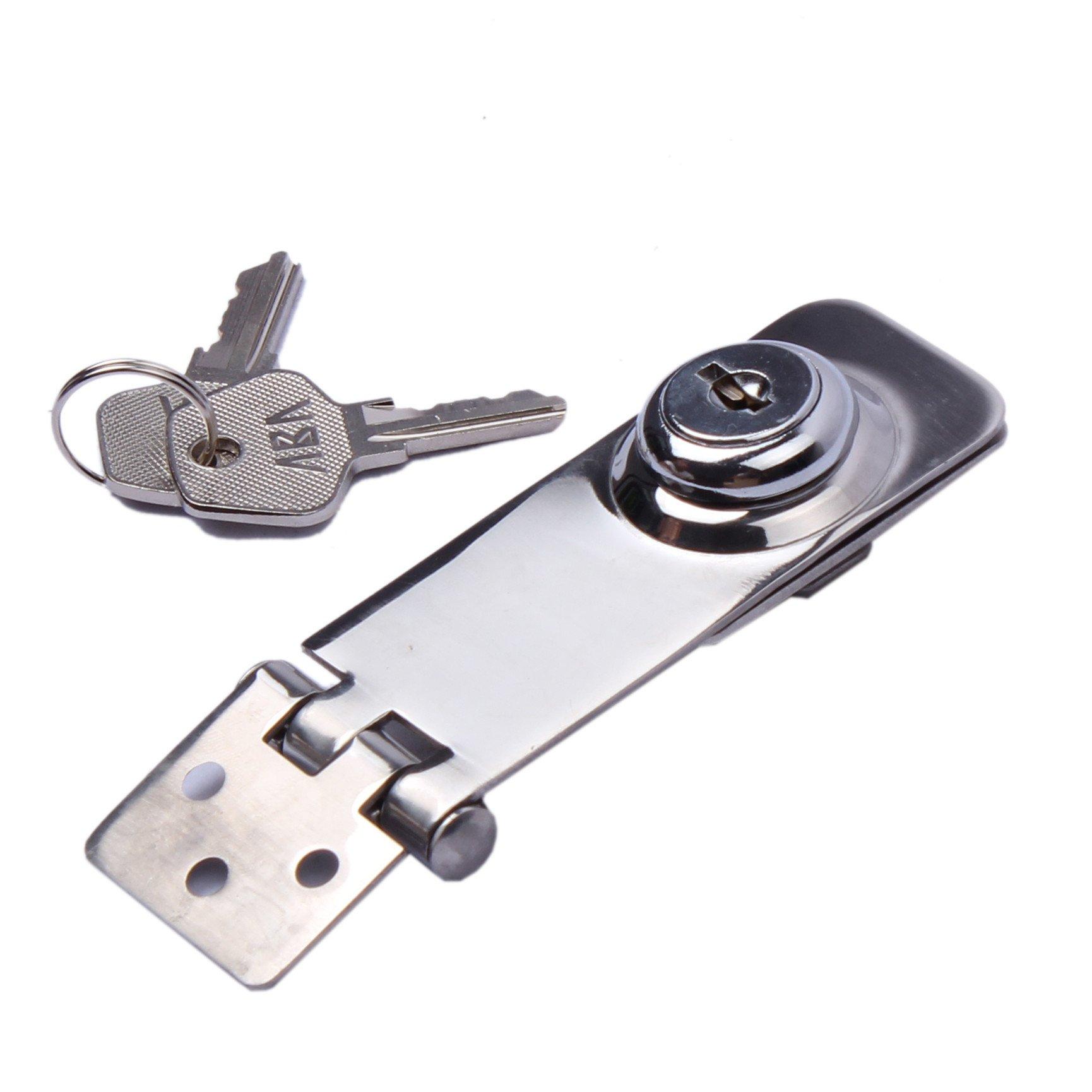 HOFFEN Key Locking Hasp 3'' 1-1/8'' Stainless Steel Twist Knob