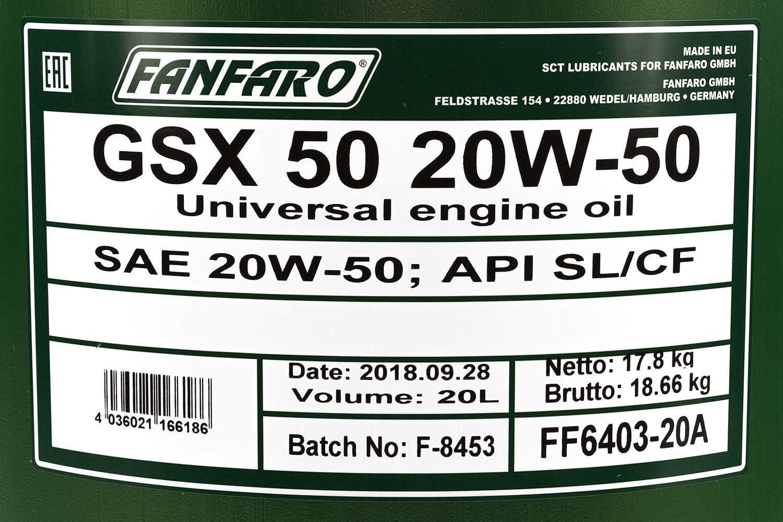 1 X 20l Fanfaro Gsx50 20 W 50 Cf Universal Engine Oil Classic Car Auto