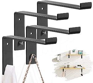 Shelf Brackets with Hooks 8 Inch Heavy Duty Industrial Iron Floating Brackets for Shelves, Decorative Rustic Black Metal L Brackets with Lip, Wall Brackets For Shelves 1/5