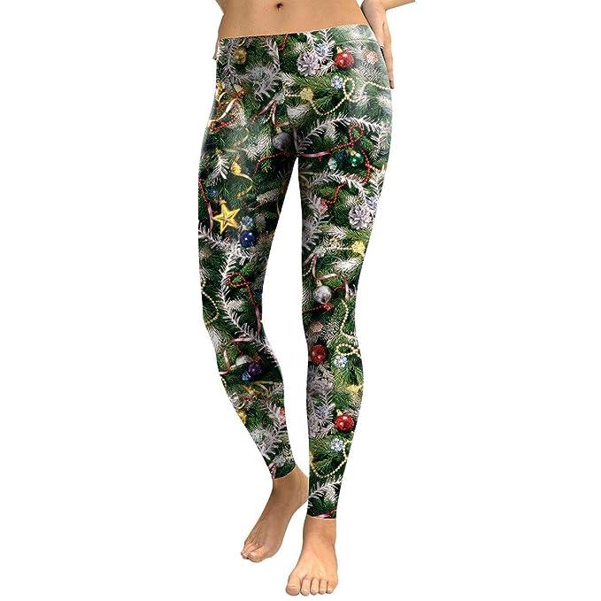Navidad Niñas Mujeres Otoño E Invierno Impresión Digital Ropa Interior De árbol De Navidad Yoga Pantalones