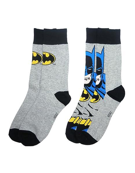 DC Comics Batman Calcetines classic logo Oficial hombres Gris 2 Pack (UK
