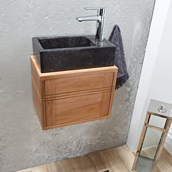 tikamoon basic meuble lave main salle de bain suspendu teck beige 38 x