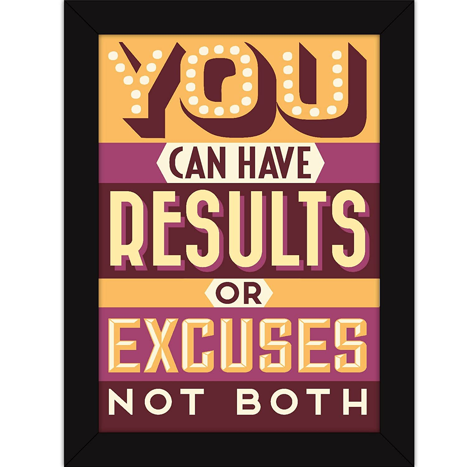 Motivational Poster With Frames For Office and Home - Gym Workout Quote - Results Or Excuses