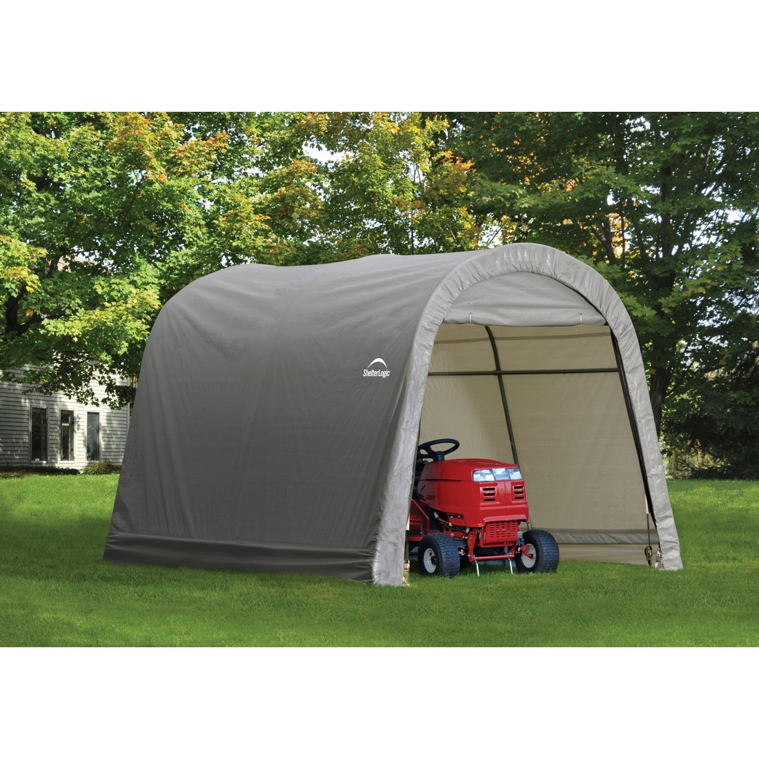 x a lowes peak box sheds style canopy shelterlogic storage shed gray in