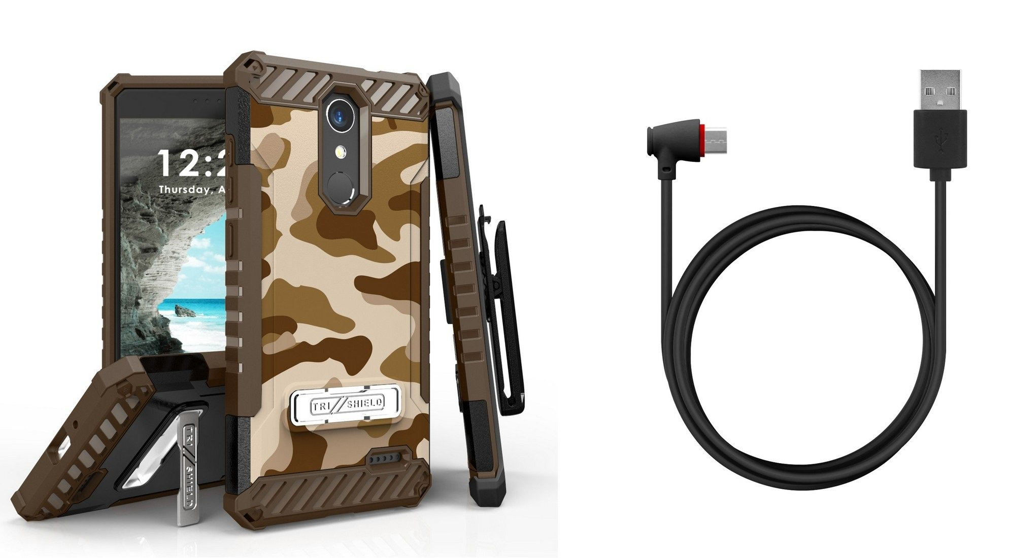 Tri-Shield Military Grade Case Bundle with Belt Clip Holster (Desert Camo), [90 Degree/Right Angle] USB Type C Cable [4 Foot], Atom Cloth for ZTE Blade Spark, ZTE ZMAX One LTE, ZTE Grand X 4