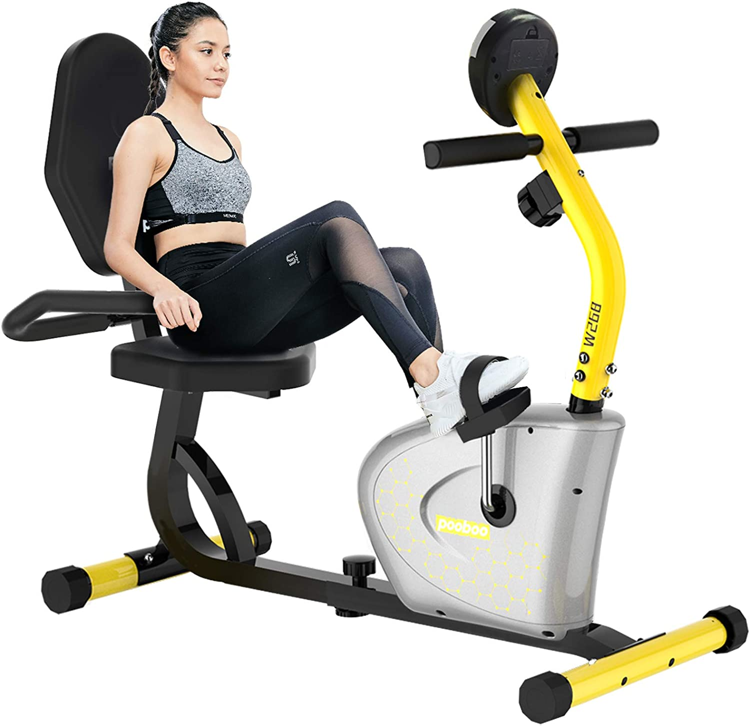 cycool Recumbent Exercise Bike, Magnetic Indoor Cycling Bike Stationary Bikes with Adjsutable Resistance and LCD Display For Home Cardio Workout